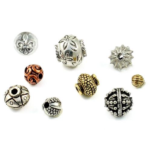 Round pewter beads